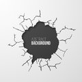 Cracked hole in the wall banner with space for text Royalty Free Stock Photo