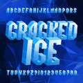 Cracked Ice alphabet font. Distressed letters and numbers on polygonal background. Royalty Free Stock Photo