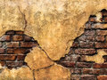 Cracked Old Vintage Brown Concrete Wall with Brick Background Texture, High Contrast Royalty Free Stock Photo