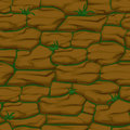 Cracked pattern of brown earth and grass, seamless soil texture