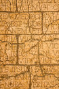 Cracked plaque with latin inscriptions and roman letters marble background Royalty Free Stock Photos