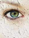 Cracked skin closeup of a female eye with Stock Images