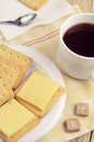 Cracker with cheese and coffee Royalty Free Stock Photo