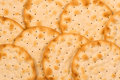 Crackers closeup photo of round Royalty Free Stock Image