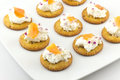 Crackers with Cream Cheese and Smoked Salmon Royalty Free Stock Photo