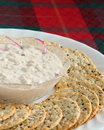 Crackers and salmon spread Stock Photos