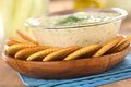 Crackers with Tzatziki Stock Photo
