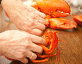 Cracking a lobster Stock Photo