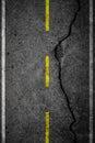 Cracks on asphalt the yellow line dividing lanes Stock Photography