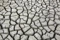 Cracks in ground during dry season drought at waterhole Royalty Free Stock Photography