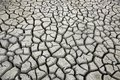 Cracks in ground during dry season drought at waterhole Royalty Free Stock Image