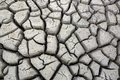Cracks in ground during dry season drought at waterhole Stock Photo