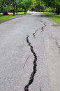 Cracks road caused magnitude earthquake Stock Photo