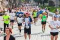 Cracovia marathon runners on the city streets on may in krakow poland Royalty Free Stock Photos