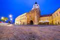 The cracow gate of old town in lublin at night poland july city center on july is largest polish city east vistula Stock Images
