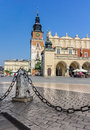 Cracow poland town hall cloth hall sukiennice cracow poland stone post with chain Royalty Free Stock Photo