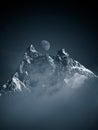Cradle mountain moon peak landscape Royalty Free Stock Image
