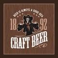 Craft beer and girl logo- vector illustration, emblem brewery design