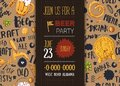 Craft beer menu with sketch mug, pretzel, wheat on pattern background with lettering. Modern poster