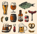 Craft beer and pub sketch vector illustration.