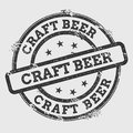 Craft beer rubber stamp isolated on white.