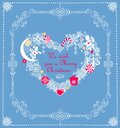 Craft Christmas pastel blue greeting card with heart shape wreath with paper cutting snowflakes, little angels, Xmas tree, balls, Royalty Free Stock Photo
