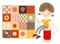 Craft Girl with Patchwork Quilt Royalty Free Stock Photos