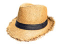 Craft hat woven isolate background Stock Photo