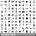 100 craft icons set, simple style