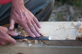 Craft a man working on wood chisel Royalty Free Stock Image