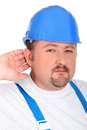 Craftsman with blue helmet a a Stock Photo