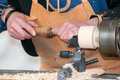 Craftsman carpenter working in his workshop Royalty Free Stock Images
