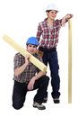Craftsman and craftswoman posing together Stock Image