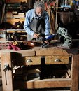 Craftsman making luxury handmade man shoes