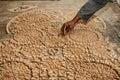 Craftsman placing zellige in marrakech morocco Stock Photos