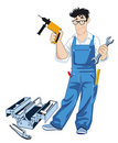Craftsman with tool box Stock Photo