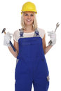Craftsman woman female craftsmanship worker job isolated Royalty Free Stock Photo