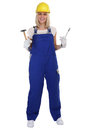 Craftsman woman female craftsmanship worker job standing isolate Royalty Free Stock Photo