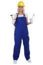 Craftsman woman female craftsmanship worker job standing isolate Royalty Free Stock Photo