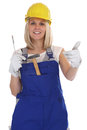 Craftsman woman female craftsmanship worker job thumbs up isolat Royalty Free Stock Photo
