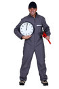 Craftsman with wrench and clock holding a a Stock Photos