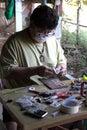 The craftsmanship inlaid amulet image of buddha Stock Photos