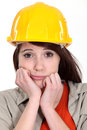Craftswoman looking bored Royalty Free Stock Photo