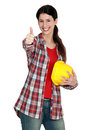 Craftswoman thumbs up Royalty Free Stock Photography