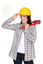 Craftswoman tipping her hat hard Stock Image