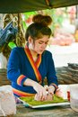 Craftwoman making pottery of dolls and sculpture of animals Royalty Free Stock Photo