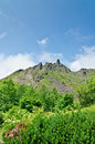 Craggy rocks on active volcano in Japan Royalty Free Stock Image