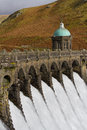 Craig goch dam in the elan valley image shows water overflowing wales Stock Photography