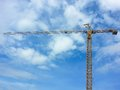 Crain construction building in blue sky and cloud Royalty Free Stock Photos