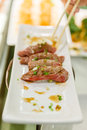 Cramping Torched Wagyu Sushi with Medium Rare Cooked Royalty Free Stock Photo